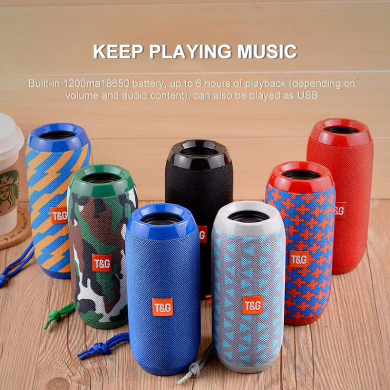 TG117 Bluetooth Outdoor Speaker 1200mAh Waterproof Portable Wireless Column Loudspeaker Box Support TF Card FM Radio Aux Input