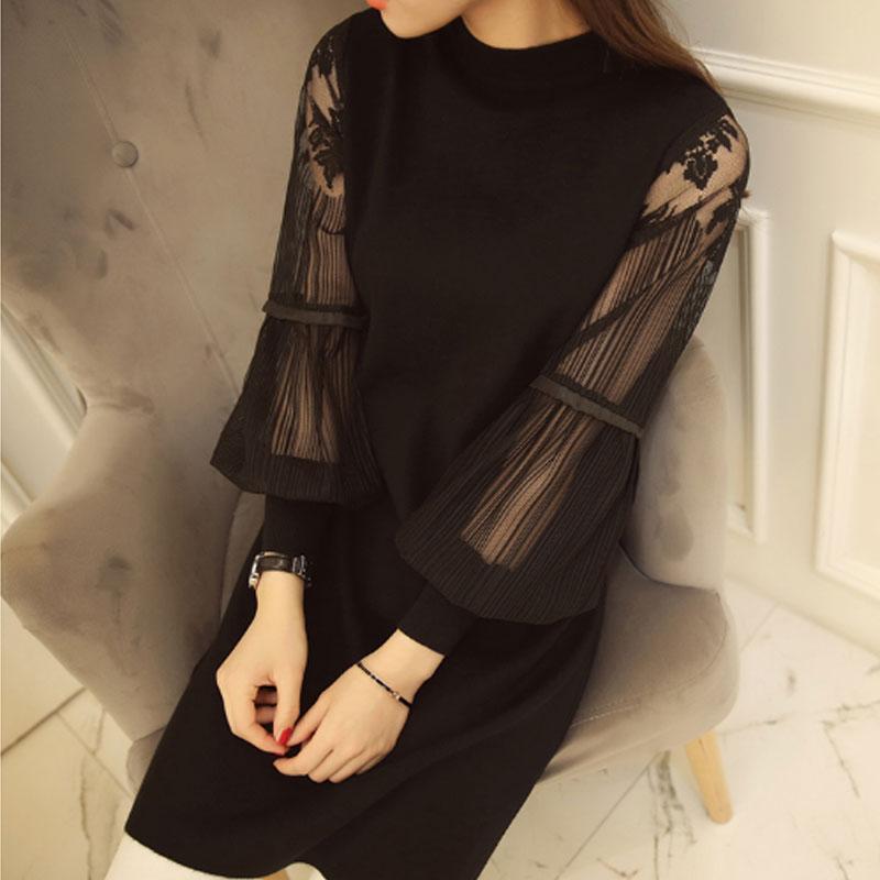 New sexy slim lace stitching women dress retro Lantern Sleeve Dress long section knitted sweater dress Winter spring dress 2075
