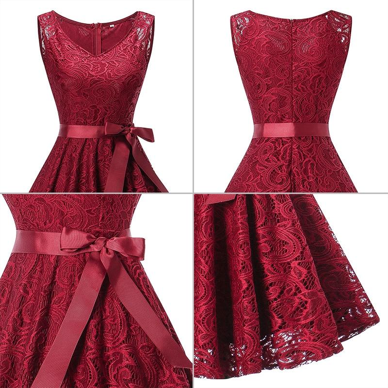 2018 women dress Women Vintage Lace Formal Wedding Party Prom Swing Dress