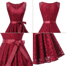 Red Vintage Lace Swing Dress