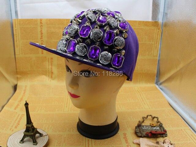 Moda novos HipHop legais diamante de cristal do Punk de Spike Rivet Stud borda plana Cap Snapback beisebol boné de pala ajustável de alta qualidade