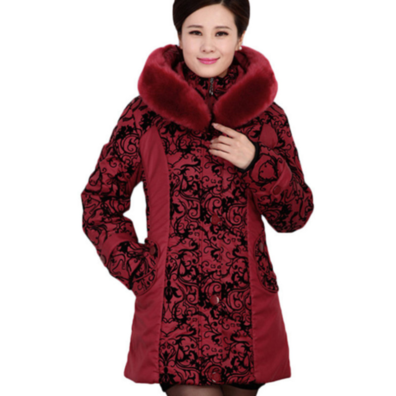 Winter Middle-aged warm jacket women Thicken Cotton-padded Slim Female Plus Size 5XL Fur Collar Coat Female mom printing Parka