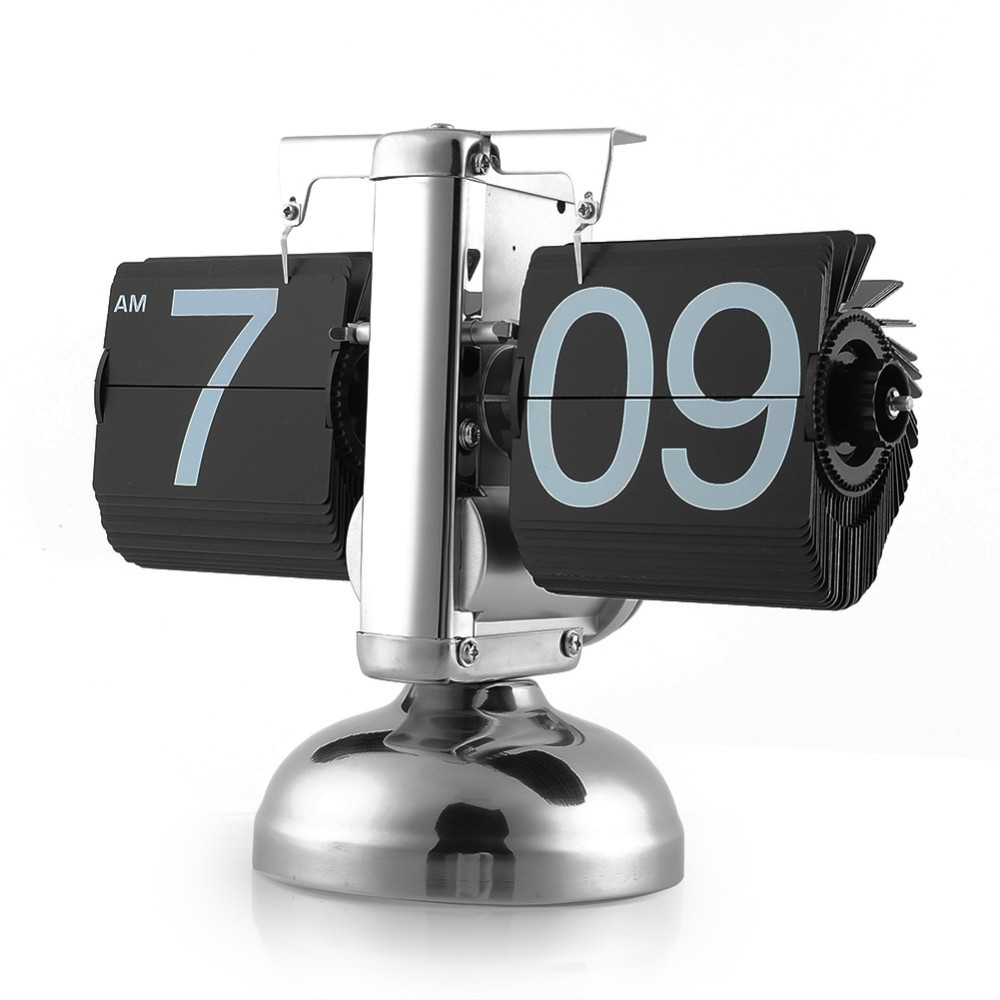 Black/White Small Scale Table Clock Desktop Retro Flip Clock Stainless Steel Flip Internal Gear Operated Quartz Clock