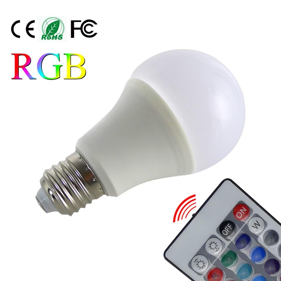 E27 RGB LED Bulbs Lamp 3W LED RGB Bulb Light AC85-265V Remote Control 16 Color Change Lampada LED Luz A65 24 keys 3 5w e27 rgb led bulb 16 color change