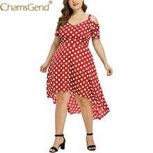 Class Dot Print Summer Dress Women Sexy Off Shoulder Short Sleeve Plus Size Party Dress XL,2XL,3XL,4XL,5XL 90514(China)