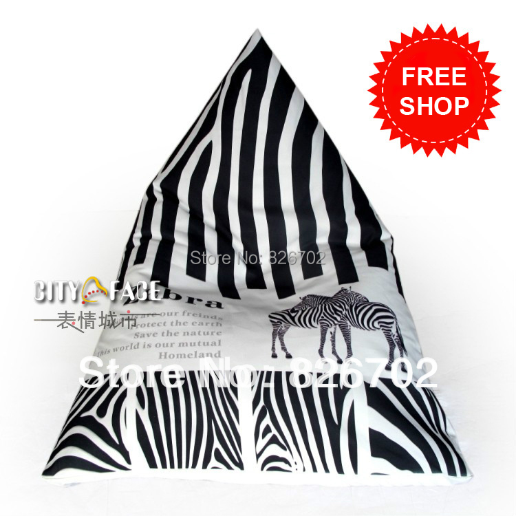 ФОТО 115*75*90cm Zebra Stripe Sofa  Bean Bag Cover Lazy Beanbag Chair  Sofa Anywhere Portable Sitting Cushion