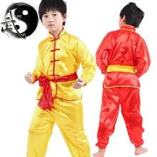 2016 Niño Niños Niño Niñas Ropa Traje de Kungfu Chino Tradicional Kung Fu Uniforme Top + Pants + Correa 3 Unids traje