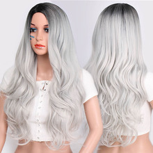 Doris beauty Synthetic Long Wavy Ombre Gray Wig for Woman Cosplay Wig Brown Red
