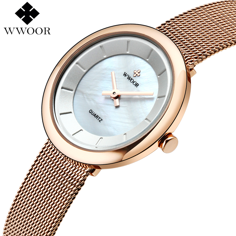 Fashion Style Women Waterproof Rose Gold Quartz Watches Women Brand Luxury WWOOR Analog Clock Ladies Stainless Steel Wrist Watch hot luxury brand geneva fashion men women ladies watches gold stailess steel numerals analog quartz wrist watch for men women