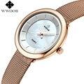 Reloj Mujer Top Marca de Luxo de Aço Pulseira Relógio de Pulso Casual Rosa de Ouro Relógio De Quartzo Das Mulheres Relógios Senhoras Relógio Relogio feminino