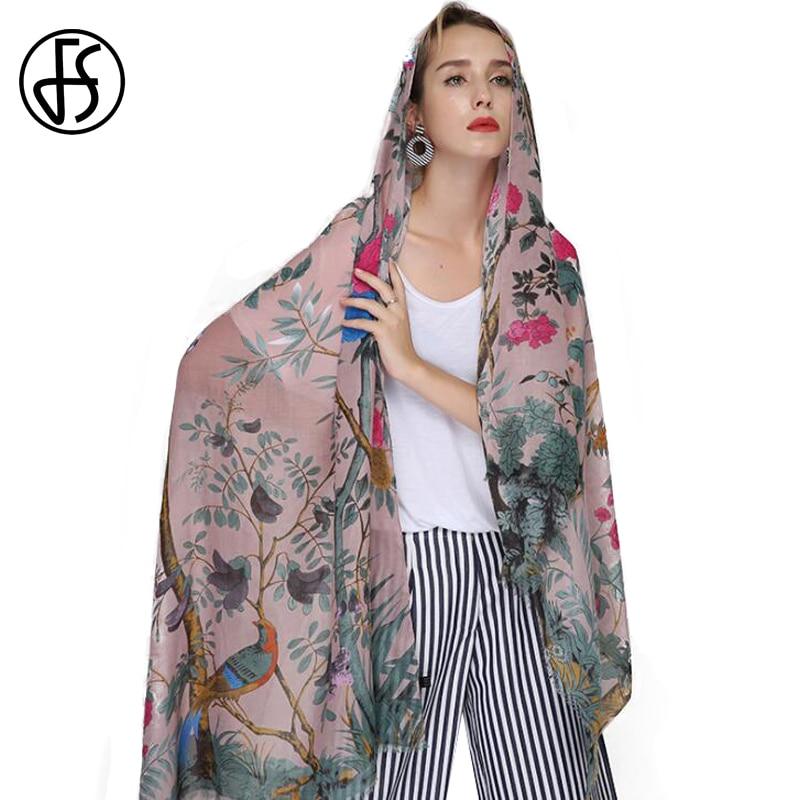 en venta 6f949 46118 FS Echarpe Foulard mujer algodón Lino Animal estampado bufanda chales  bufandas grandes Hijab Pashmina Floral árbol pájaro Bandana cabeza