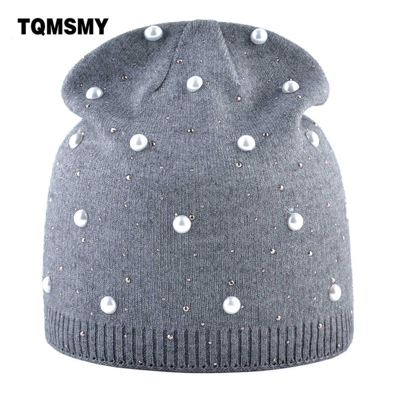 467933c4b1b Fashion pearls cap Knitting wool beanies women s winter hat Casual skullies  girls turban caps soft bone