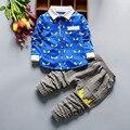 Otoño Bebé Niño Ropa de La Muchacha Camisa de Manga Larga + Pantalones 2 unids Ropa de Deporte Traje Ropa de Bebé Recién Nacido envío Gratis