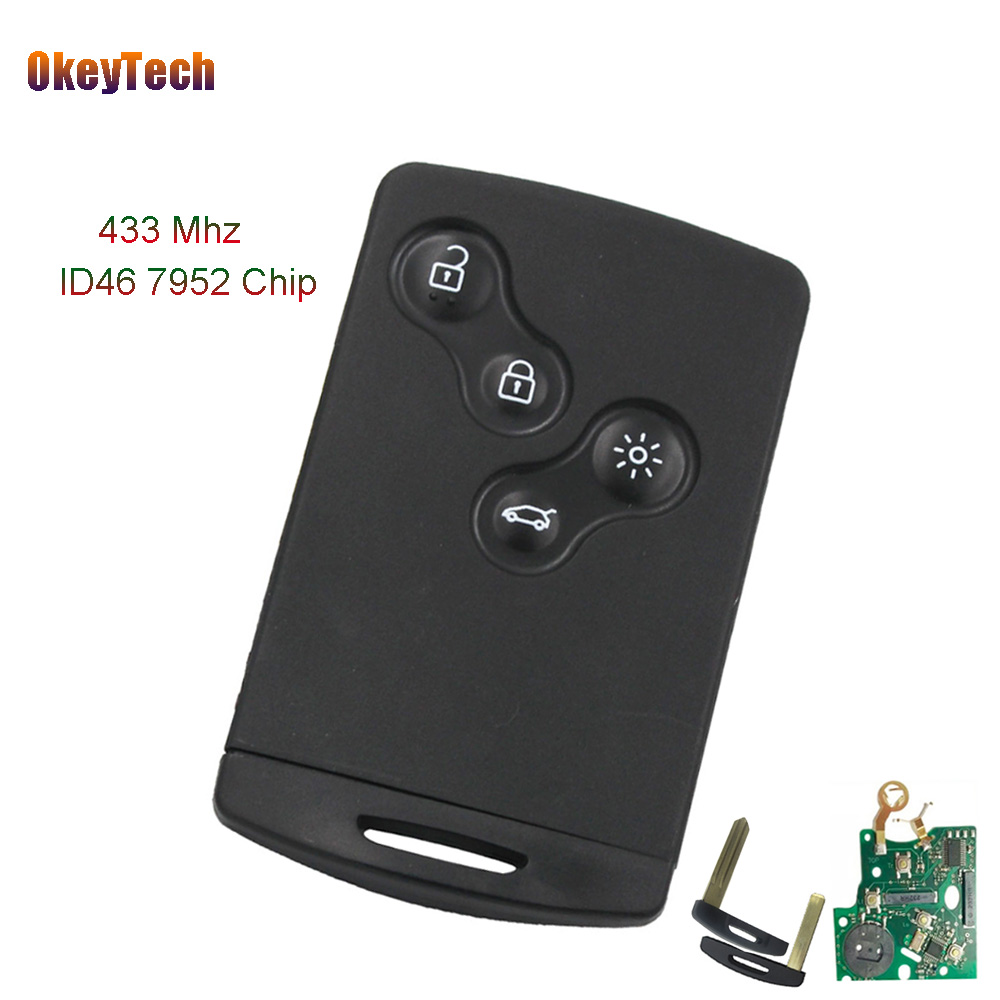 OkeyTech 4 Button Smart Card Remote Car Key Fob For Renault Megane Koleos 433MHZ PCF7952 ID46 Chip Intelligent Card Uncut Blade free shipping replacement new uncut remote key fob 4 button 433mhz pcf7952 for renault megane 2009 2014