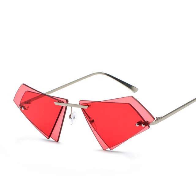 Mixxar Individual Vintage Triangle Double Sunglasses Women Red Sun glasses Men Female