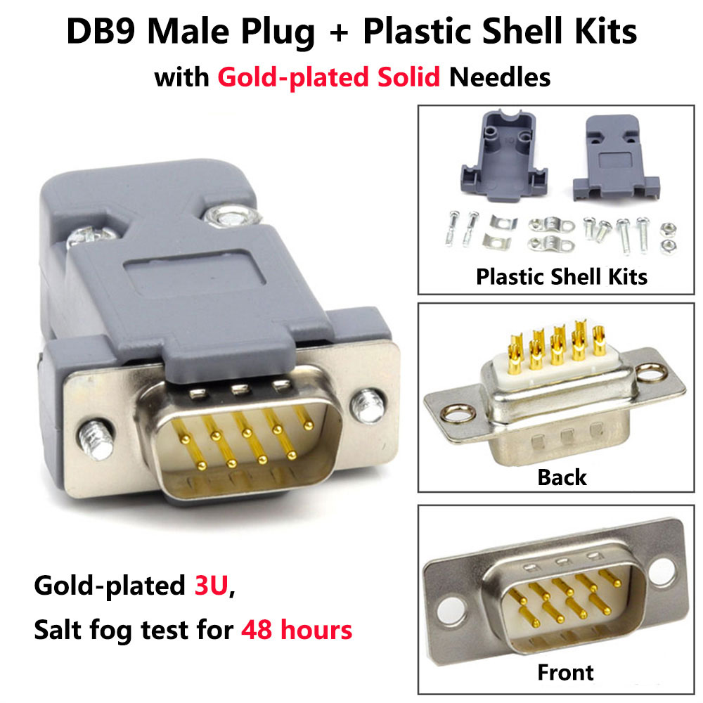 US $2 49 |DB9 Female Socket Plastic Shell Kit RS232 9 Pin Serial Port  Connector RS485 RS422 COM D SUB9 Plug Adapters-in Plug & Connectors from