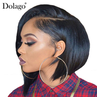 13x6 Lace Front Wig Short Human Hair Wigs For Women Straight Bob Wig Frontal Full End Glueless Natural Black Remy Dolago