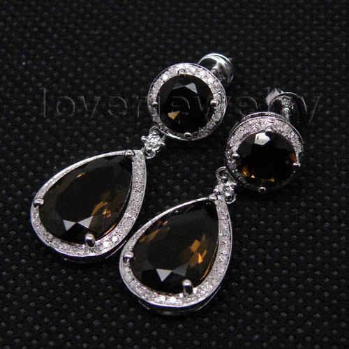 النساء طقم مجوهرات أنيق في الصلبة 14Kt الذهب الأبيض مجوهرات الماس دعوى الدخان توباز أقراط قلادة Top البيع