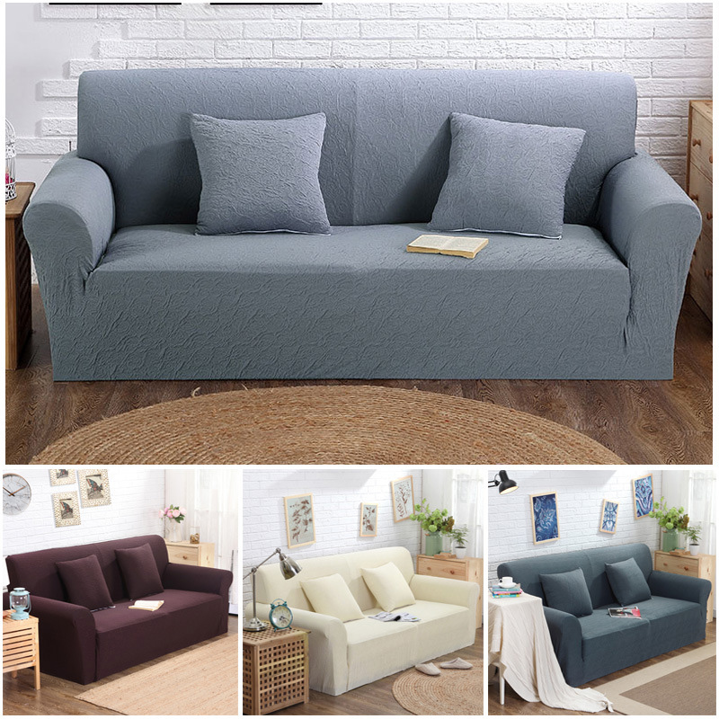 Modern Solid Stretch Sofa Cover Jacquard Thicken High Quality Fabric Corner  Sofa Cover Loveseat Sofa Towel
