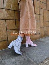 2017 fashion velvet boots Women's Platform Block Heel Boot Coolest Velvet Shoes For Fall Winter black burgundy velvet  boots