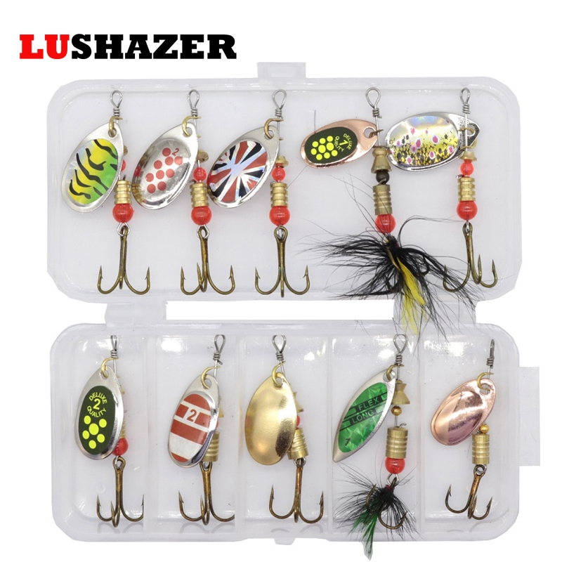 10pcs/lot LUSHAZER Fishing Spoon Lures Spinner Bait 2.5-4g Fishing Wobbler Metal Baits Spinnerbait Isca Artificial Free With Box(China)