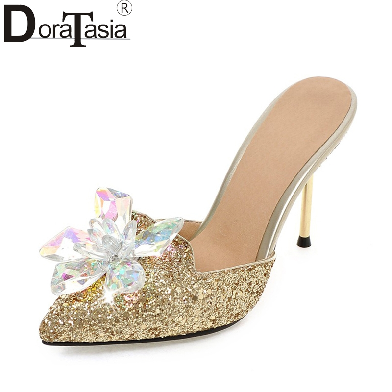 DoraTasia  2018 Plus Size 32-43 Crystal Fashion Brand Shoes Women Sexy High Heels Pointed Toe Party Wedding Mules Pumps Woman new 2017 spring summer women shoes pointed toe high quality brand fashion womens flats ladies plus size 41 sweet flock t179