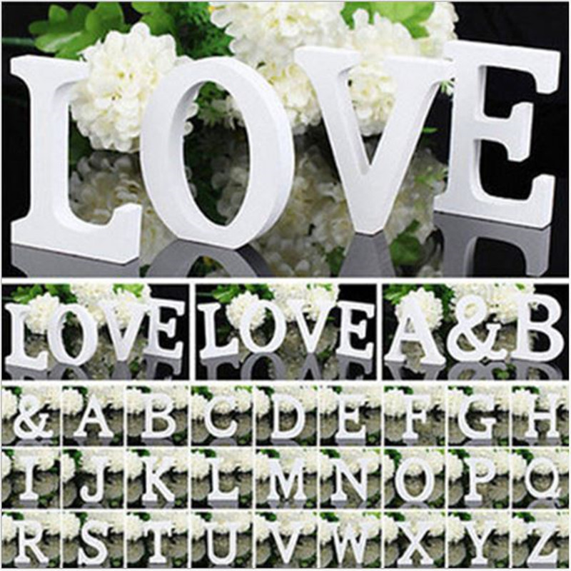 1Pc 10X10CM White Wooden Letter English Alphabet DIY Personalised Name Design Art Craft Free Standing Heart Wedding Home Decor