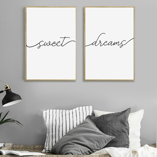 Sweet Dreams Print Typography Poster Bedroom Decor Modern Black And White Minimalist Canvas Painting