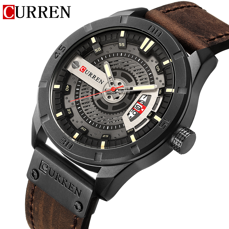 Top Luxury Brand CURREN Fashion Casual Watches Men Quartz Date Clock Male Leather Strap Sports Watch Men's Military Wrist Watch men watches top brand luxury day date luminous hours clock male black stainless steel casual quartz watch men sports wristwatch