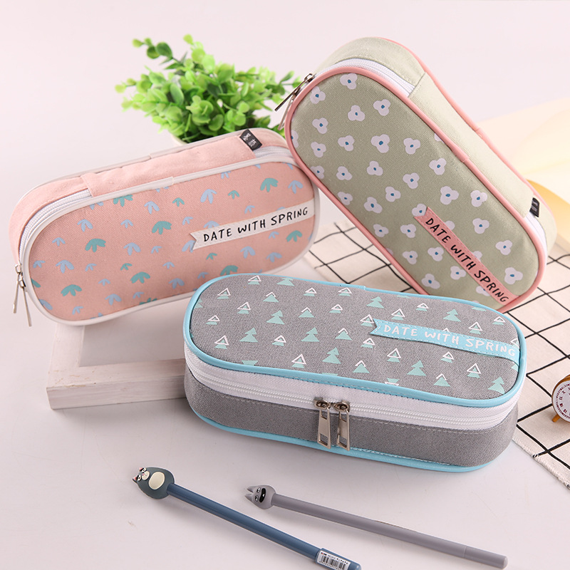 Large Pencil Case Date with Spring Pen Case 2 Zipper Pencil Bag Kawaii Stationery Cute Pencil Box Xmas Gift Pen Holder Pouch red practical case volume watermelon kids pen pencil case gift cosmetics purse wallet holder pouch for student officer
