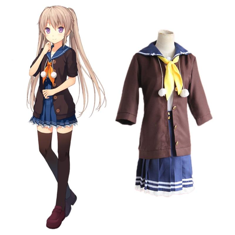Anime Ao no Kanata no Four Rhythm Mashiro Arisaka Cosplay Costumes dress Halloween for women suits coat+ tie+shirt+skirt 5pcs