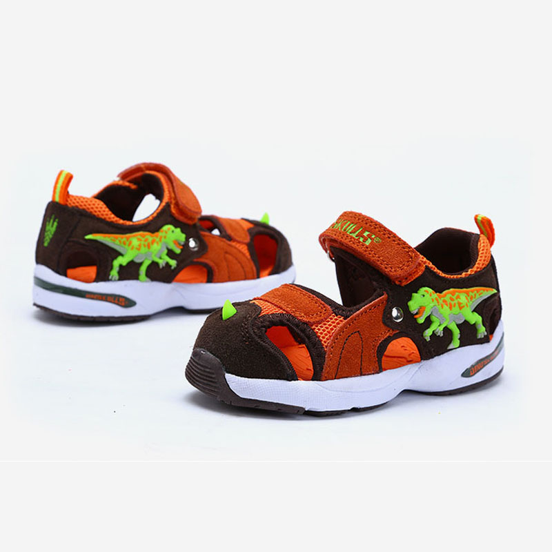 Dinoskulls Boys Sandals Brand Kids Beach Shoes Closed Toe Leather Summer Kids Shoes Slippers 3D Sandals Dinosaur