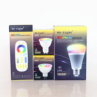 1Set 110V 220V 12V Mi Light LED Bulb E27 GU10 MR16 Dimmable RGB CCT LED Lamp 4W 8W RGB+W+WW LED Spotlight + 2.4G RF RGBWW Remote