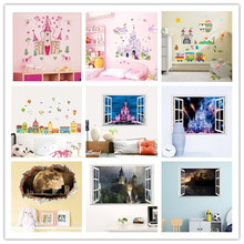 % Removable DIY Princess Castle Star Fantasy Girls Bedroom Wall Sticker Star universe Kids Baby Nursery Home Decor Decal Mural(China)