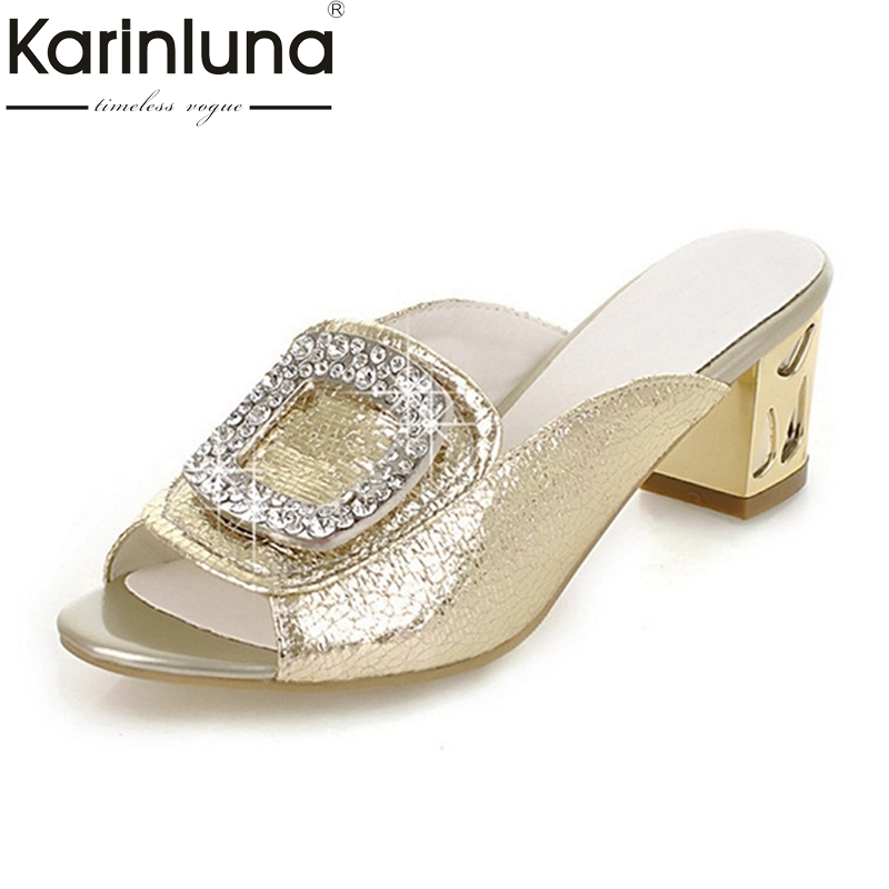 brand new big size 34-43 peep toe square med heels women mules pumps fashion crystals party dating outdoor shoes lady footwear 2014 new fashion square heel shoes shallow mouth bowtie shoes dating casual pumps hot sale eur size 34 43