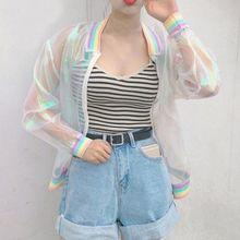 цена на Summer Women Jacket Laser Rainbow Symphony Hologram Women Coat Iridescent Transparent Bomber Jacket Sunproof L03