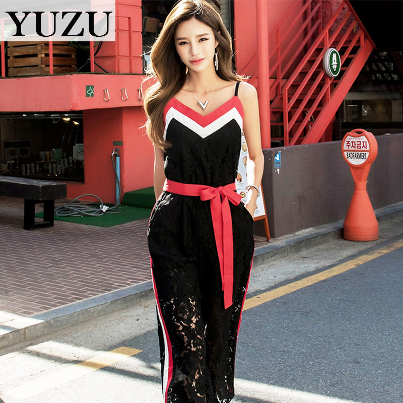 Sexy lace jumpsuits rompers bow belt Women summer Bohemian Off Shoulder sleeveless Backless causal summer long