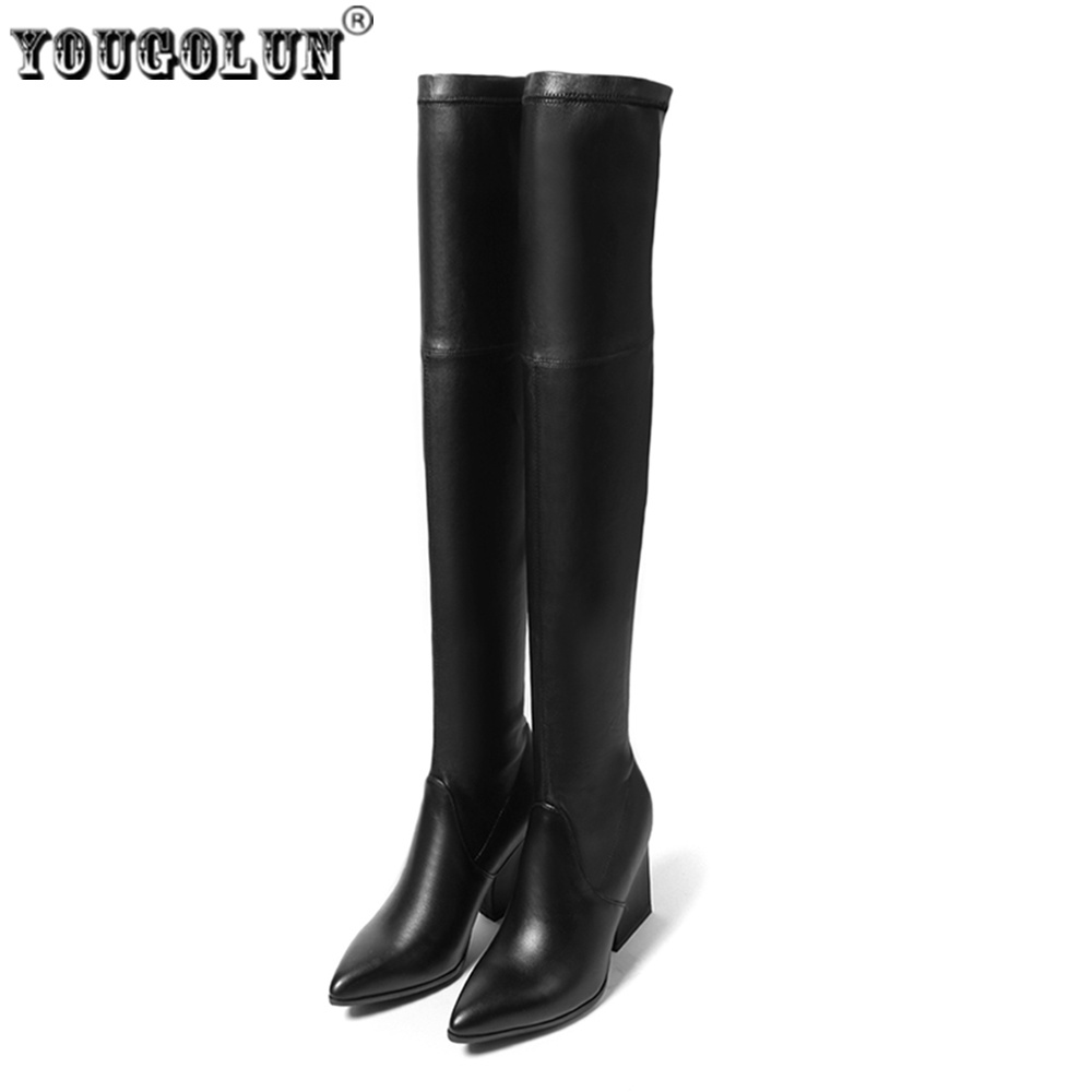 YOUGOLUN women suede stretch high heels over the knee boots woman genuine leather thigh high boots new pointed toe winter shoes цены онлайн