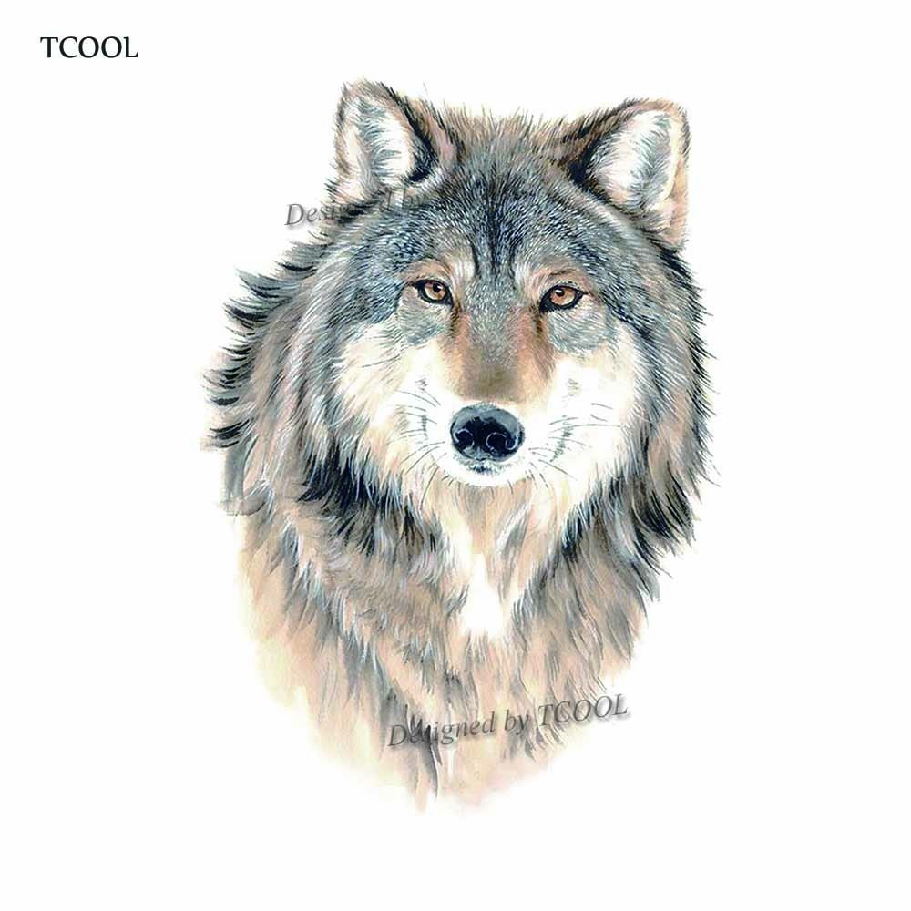 HXMAN Wolf Temporary Tattoo Sticker Animal Tattoos For Women Sexy Body Art Waterproof Men Hand Fake Tatoo 9.8X6cm A-326