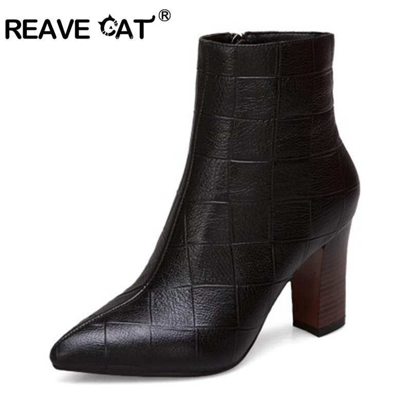 REAVE CAT Plus size 34-43 Spring Autumn Pu Leather Short Women Ankle Boots Women's Shoes Zipper Pointed Toe mujer Botas A1274