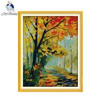 Joy Sunday Scenic Style Autumnal Scenery Cross Stitch Landscape Embroidery Kits Stamped Fabric For Beginners