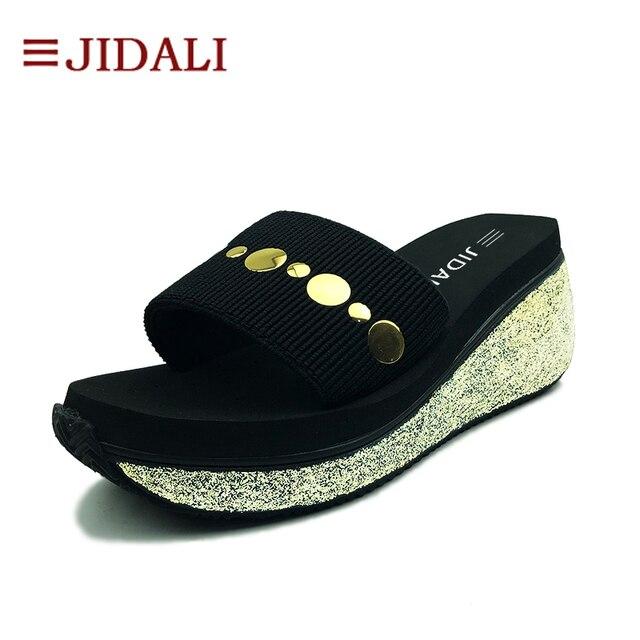 c565cebe123 JIDALI Fashion Black Flip Flop Women Shoes High EVA Golden Bling Outside Wedges  Platform Slide Sandals Summer Size 35-40