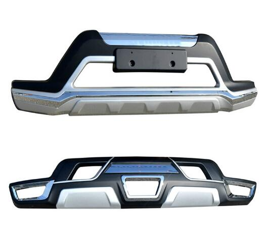 2PCS Car ABS Front+ Rear Bumper Protector Guard Skid Plate For 14-16 Nissan X-TRAIL XTRAIL Rogue 2014 2015 2016 BY EMS abs front rear bumper protector guard skid plate cover for nissan qashqai 2007 2008 2009 2010 2011 2012 2013 car accessories