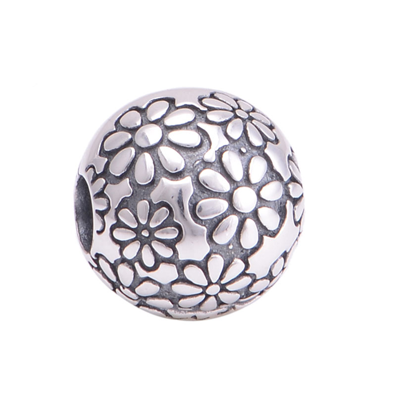 Fits Pandora Charms Bracelet 100 925 Sterling Silver Bead Floral Lock Clip European Charm DIY Making