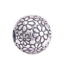 Se adapta a Pandora pulsera de los encantos 100% 925 Sterling Silver Bead Lock Floral Clip europea del encanto de DIY que hace joyería para mujeres