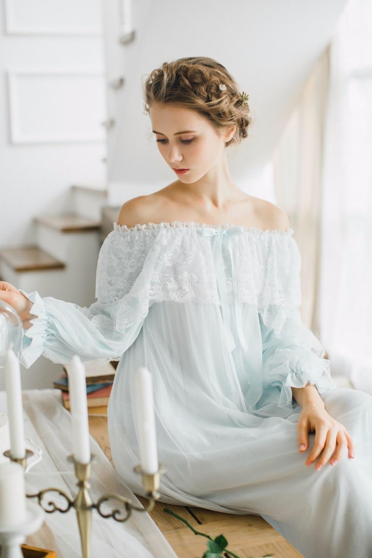 100% cotton Pure Royal Pure white Nightgown Princess Long Sleeve Nightdress Ladies Sleepwear White Womens Nightwear B4077