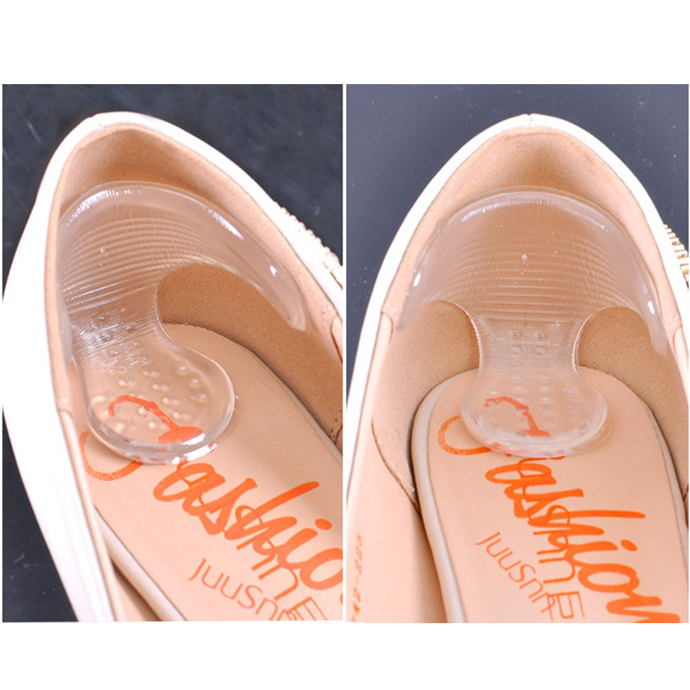 1 Pair High Heel Shoe Pad Insole Cushion Transparent Invisible Silicone Gel Heel Liners T-shaped Anti-slip Shoes Stickers