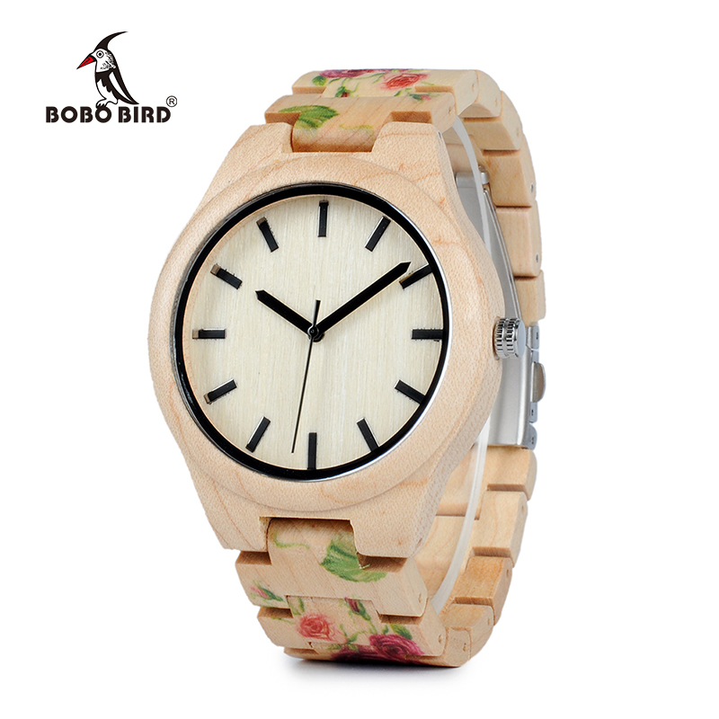BOBO BIRD WL26 Sterke Pine Wood Watches Brand Designer Watch for Menn Kvinner New UV Printing Flower Wooden Band Quartz Watch
