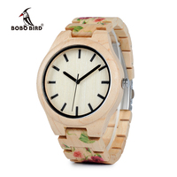 BOBO BIRD WL26 Strong Pine Wood Watches Brand Designer Watch for Men Women New UV Printing Flower Wooden Band Quartz Watch Network Switches
