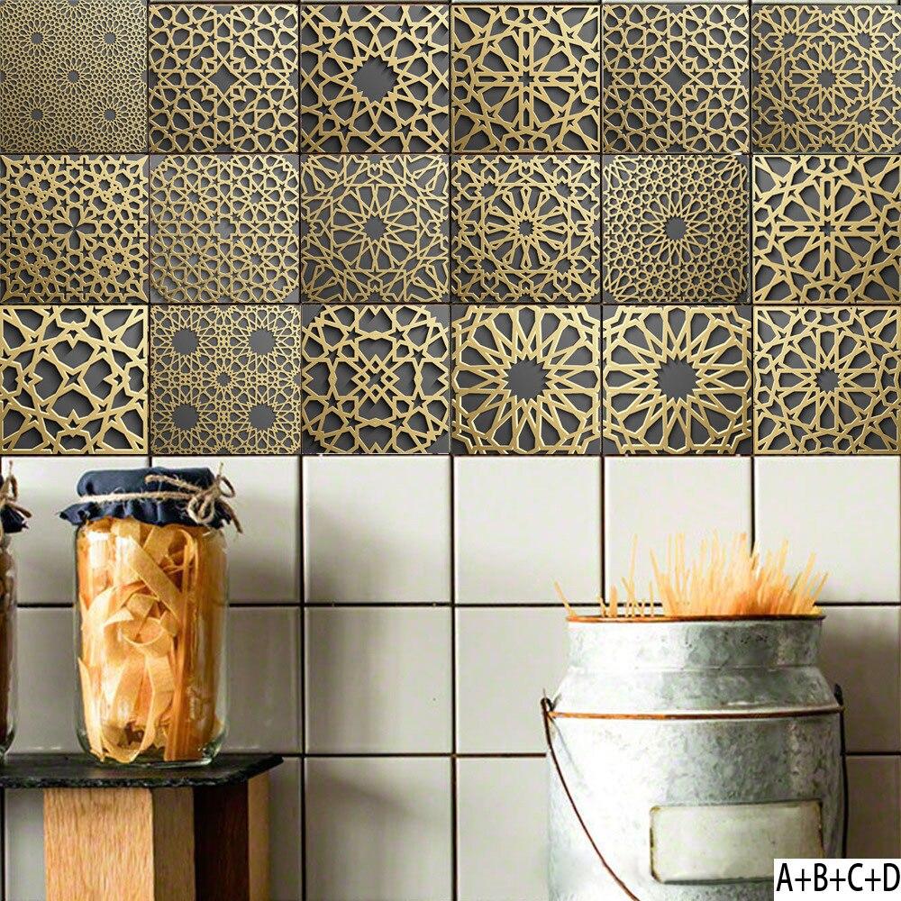 Moroccan tile stickers PVC retro living room bedroom wallpaper wall sticker kitchen oilproof sticker bathroom waterproof